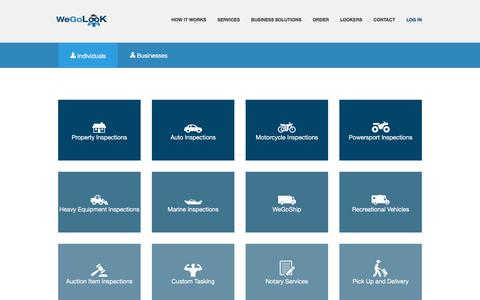 Screenshot of Services Page wegolook.com - WeGoLook - Services - Onsite Inspection Services - captured Aug. 19, 2016