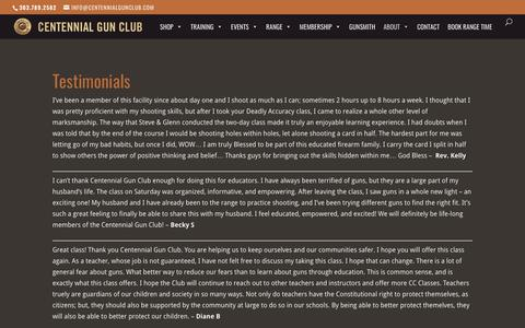 Screenshot of Testimonials Page centennialgunclub.com - Testimonials of Centennial Gun Club Classes | Centennial Gun Club - captured July 16, 2018
