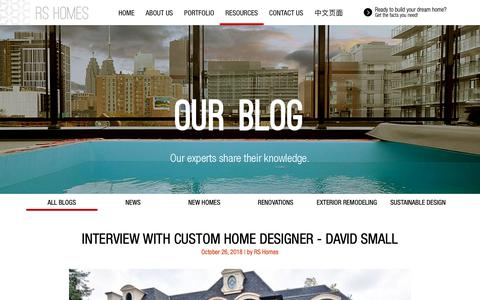 Screenshot of Blog rshomes.ca - RS Homes | Our Blog - The most valuable home building, renovation and living information for the GTA - captured Nov. 7, 2018