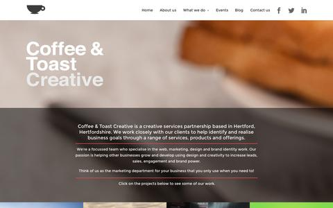 Screenshot of Home Page Contact Page coffeetoast.co.uk - Coffee & Toast Creative | Hertfordshire web design, graphic design, identity design, logo design and marketing from a creative services agency | Based in Hertford, SG14 - captured Oct. 3, 2014