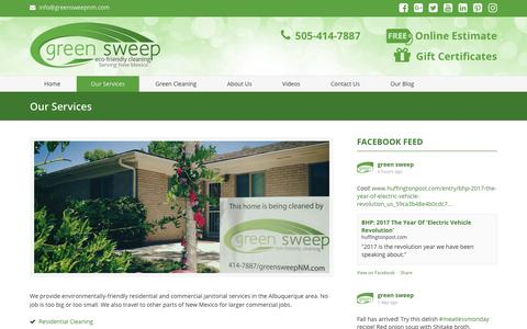 Screenshot of Services Page greensweepnm.com - Residential and Commercial Cleaning in Albuquerque - Green Sweep NM Albuquerque NM - Green Sweep New Mexico 505-414-7887 - captured Sept. 27, 2017