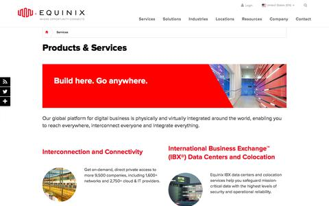 Screenshot of Services Page equinix.com - Equinix Products & Services - captured April 20, 2018