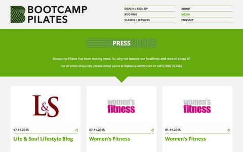 Screenshot of Press Page bootcamppilates.com - Latest Pilates Reviews In The Press | Bootcamp Pilates London - captured Jan. 6, 2016