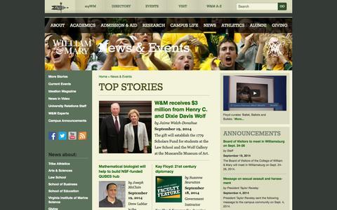 Screenshot of Press Page wm.edu - William & Mary - News & Events - captured Sept. 23, 2014