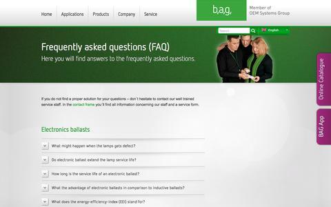 Screenshot of FAQ Page bagelectronics.com - FAQ   BAG - captured Oct. 1, 2016