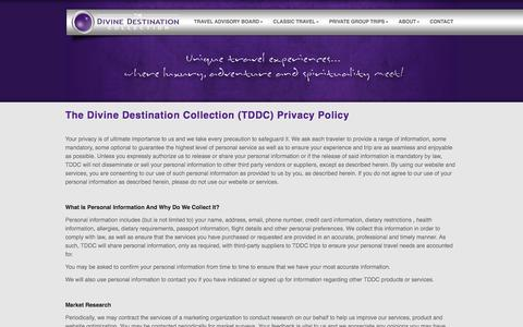 Screenshot of Privacy Page divinedestinationcollection.com - Privacy Policy | The Divine Destination Collection Exotic Luxury Travels and Spiritual luxury vacations - captured Feb. 28, 2016