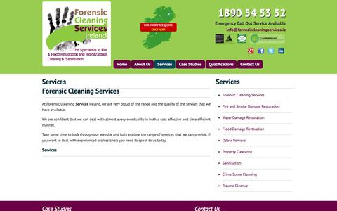 Screenshot of Services Page forensiccleaningservices.ie - Services | - captured Oct. 6, 2014