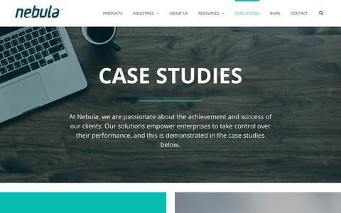 Screenshot of Case Studies Page nebula.co.za - Case Studies - Nebula - captured Sept. 21, 2018