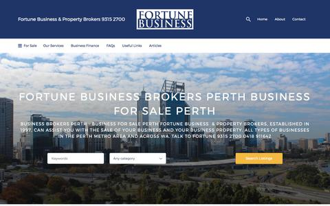 Screenshot of Home Page fortune.net.au - Business Broker Perth Business For Sale - captured Oct. 14, 2017