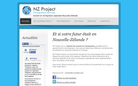 Screenshot of Home Page nz-project.com - NZ Project - Et si votre futur était en Nouvelle-Zélande ? - captured Sept. 30, 2014