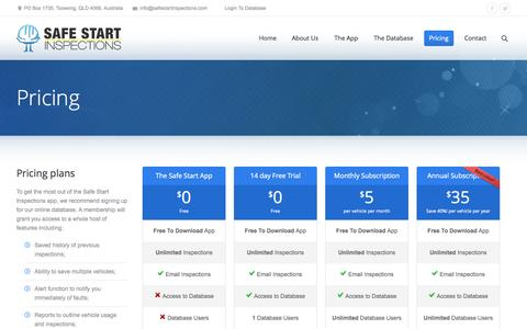 Screenshot of Pricing Page safestartinspections.com - Pricing | Safe Start Inspections | Safe Start Inspections - captured Sept. 30, 2014