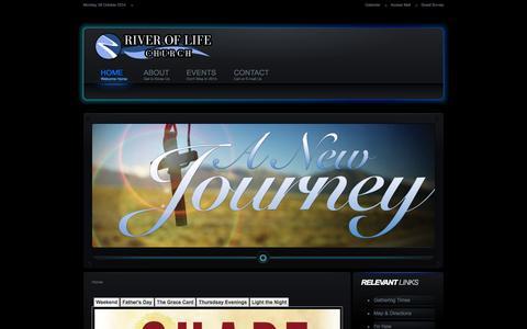 Screenshot of Home Page lebanonriveroflife.com - River of Life - Lebanon, Indiana - captured Oct. 6, 2014