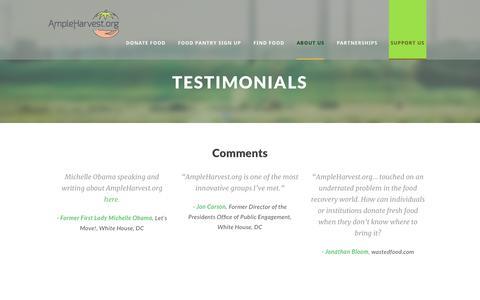 Screenshot of Testimonials Page ampleharvest.org - Testimonials - AmpleHarvest.org - captured Oct. 3, 2018