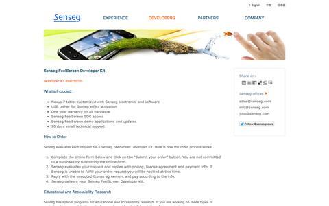 Screenshot of Developers Page senseg.com - Developer Kit-Senseg - captured Nov. 4, 2014