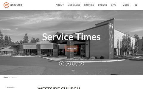 Screenshot of Services Page westsidechurch.org - Westside Church in Bend, Oregon   Life. Love. Jesus. - captured Oct. 5, 2018