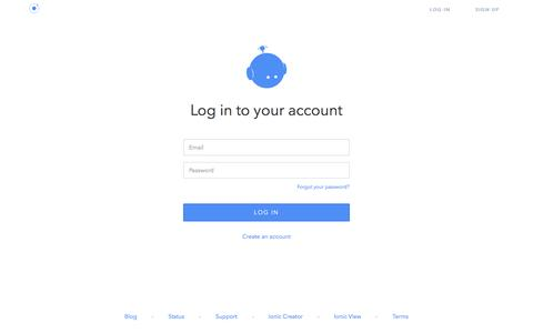 Screenshot of Login Page ionic.io - Log in - Ionic.io: the hybrid app platform. - captured Nov. 18, 2015
