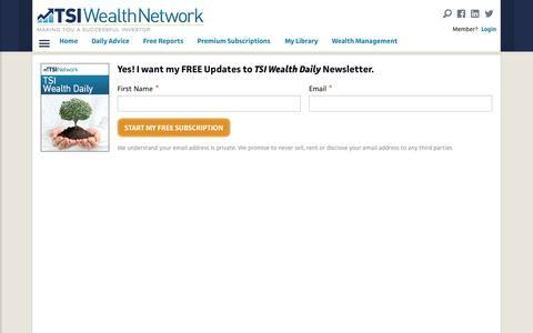 Screenshot of Signup Page tsinetwork.ca - Get Newsletters - TSI Wealth Network - captured Dec. 1, 2016
