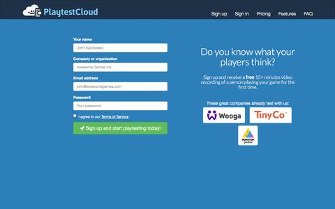 Screenshot of Signup Page playtestcloud.com - Sign up - PlaytestCloud - captured Oct. 28, 2014