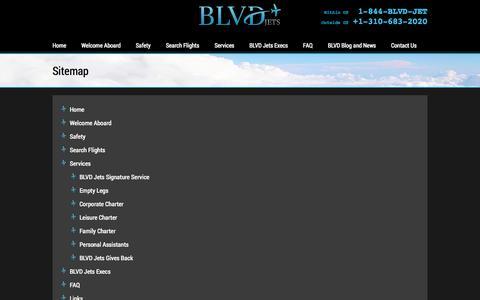 Screenshot of Site Map Page blvdjets.com - Sitemap   BLVD Jets - captured Sept. 30, 2014