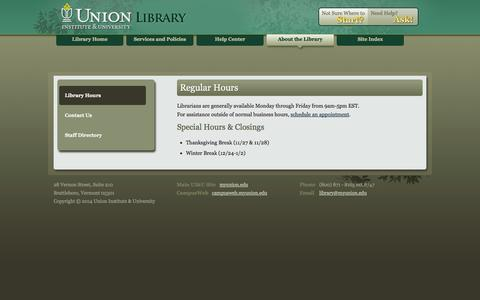 Screenshot of Hours Page myunion.edu - My Union Library - captured Sept. 19, 2014