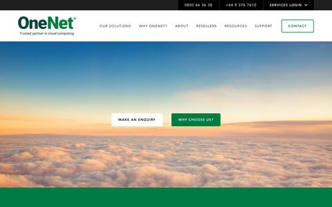 Screenshot of Home Page onenet.co.nz - OneNet - Trusted partner in cloud computing - captured Sept. 27, 2018