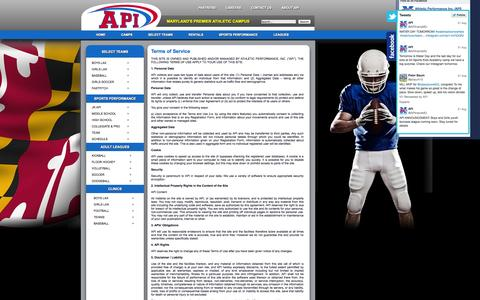 Screenshot of Terms Page athleticperformanceinc.com - Terms of Service - captured Oct. 4, 2014