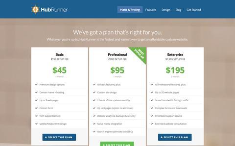 Screenshot of Pricing Page hubrunner.com - HubRunner HubRunner: Affordable Websites that We'll Manage For You - captured Sept. 23, 2014