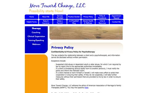 Screenshot of Privacy Page movetowardchange.com - Privacy Policy: Move Toward Change LLC's Privacy Policy | - captured Oct. 9, 2014