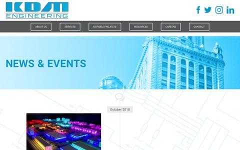 Screenshot of Press Page kdmengineering.com - News & Events   KDM Engineering - captured Nov. 6, 2018