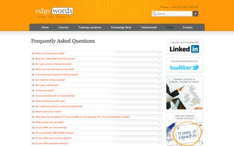 Screenshot of FAQ Page edgewordstraining.co.uk - Frequently Asked Questions | Edgewords | Selenium, eggPlant, QTP UFT, Quality Center ALM & LoadRunner Training Courses - captured Oct. 2, 2014