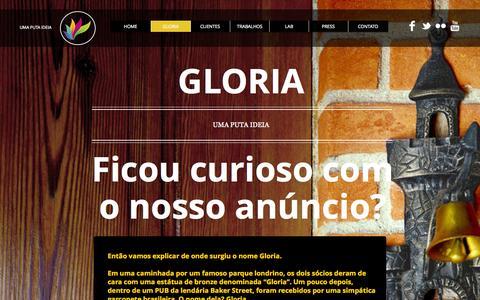 Screenshot of Home Page gloriabrasil.com.br - Gloria Brasil. Uma puta ideia - captured Oct. 2, 2014