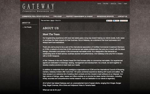 Screenshot of About Page gatewaycommercial.com - About Us | Gateway Commercial Brokerage, Inc. - captured Oct. 2, 2014