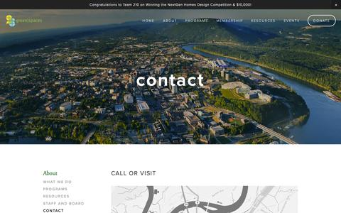Screenshot of Contact Page greenspaceschattanooga.com - Contact — green|spaces - captured Oct. 3, 2014