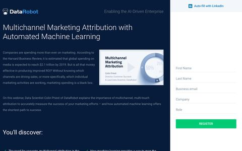 Screenshot of Landing Page datarobot.com - Multichannel Marketing Attribution with Automated Machine Learning - captured Sept. 19, 2018