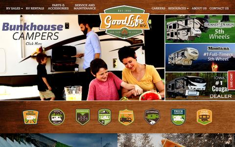 Screenshot of Home Page glrv.com - Good Life RV - Iowa RV Dealer and Service - captured Feb. 27, 2016