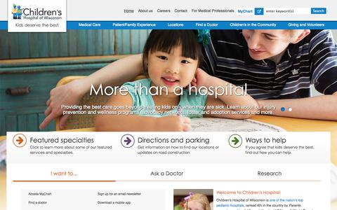 Screenshot of Home Page chw.org - Home | Children's Hospital of Wisconsin - captured Jan. 15, 2015