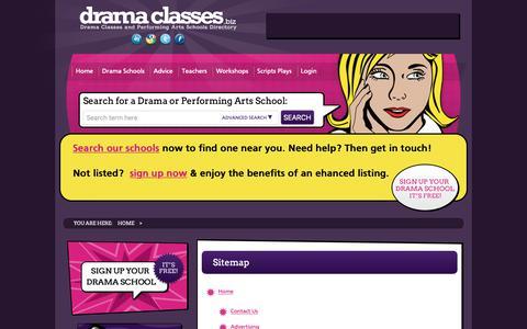 Screenshot of Site Map Page dramaclasses.biz - dramaclasses.biz Sitemap | - captured Oct. 9, 2018