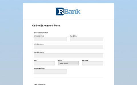 Screenshot of Signup Page rbanktexas.com - Internet Banking Enrollment - captured Oct. 19, 2018