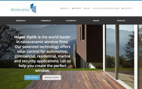 Screenshot of Home Page huperoptikusa.com - Huper Optik - Home & Commercial Window Tinting Films Manufacturing Company - captured Jan. 21, 2015