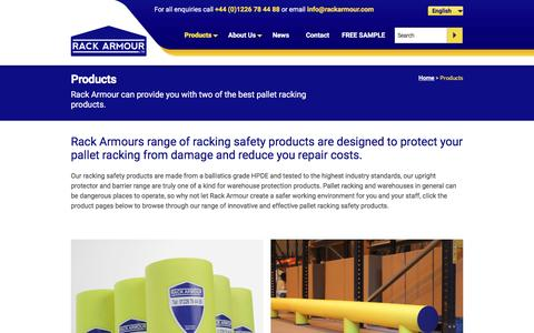 Screenshot of Products Page rackarmour.com - Racking Safety Equipment | Upright Protector | Barriers - captured Feb. 26, 2016