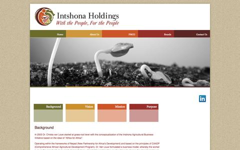 Screenshot of About Page intshona.com - About Us | Intshona Holdings - captured Oct. 6, 2014