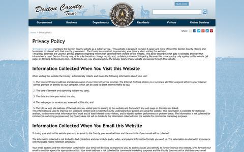 Screenshot of Privacy Page dentoncounty.com - Privacy Policy - Denton County, Texas - captured Sept. 25, 2016