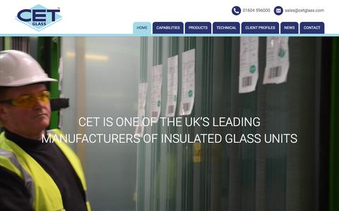 Screenshot of Home Page cetglass.co.uk - CET Glass - Advanced Glass Processing - captured April 21, 2016