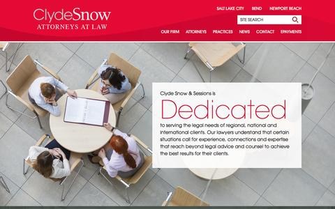 Screenshot of Home Page clydesnow.com - Clyde Snow Attorneys At Law - captured Jan. 29, 2016