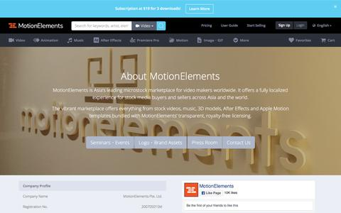 Screenshot of About Page motionelements.com - About MotionElements - captured Sept. 22, 2018