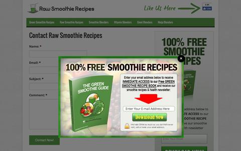 Screenshot of Contact Page rawsmoothierecipes.com - Contact Raw Smoothie Recipes - captured Aug. 12, 2016