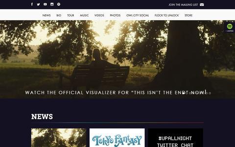 Screenshot of Home Page owlcitymusic.com - Owl City - captured Sept. 22, 2014