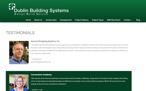 Screenshot of Testimonials Page dublinbuilding.com - Testimonials - captured Nov. 24, 2016