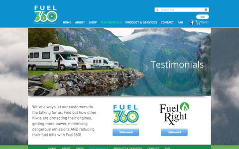 Screenshot of Testimonials Page fuel360.co.nz - Fuel360 | Fuel Savings | Diesel Bug Treatment | New Zealand | TESTIMONIALS - captured June 6, 2017