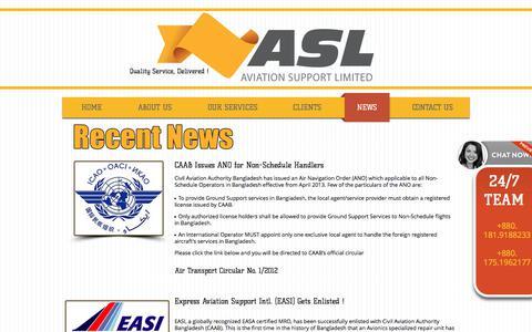 Screenshot of Press Page aviationsupportbd.com - ASL News | Headlines | Success - captured Oct. 9, 2017